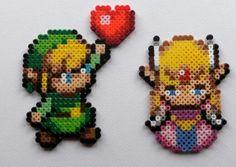 Hama/perler beads- Link and Zelda