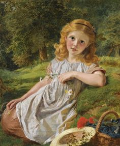 "Pre-Raphaelite Painting: ""Summer Flowers,"" by Sophie Gengembre Anderson (French, 1823 - Pre Raphaelite Paintings, Sophie Anderson, Oil Painting Flowers, Portraits, Victorian Art, Paintings I Love, Art Paintings, French Art, Summer Flowers"