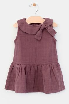 PinkBlush - Where Fashion Meets Motherhood : Burgundy Collar Tie Accent Toddler Dress Baby Girl Frocks, Frocks For Girls, Toddler Girl Dresses, Little Girl Dresses, Dresses For Toddlers, Cotton Frocks For Kids, Baby Dresses, Girls Dresses, Baby Girl Dress Design