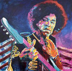 Jimi Hendrix farverig portræt maleri Malerierne - Allan Buch Malerier