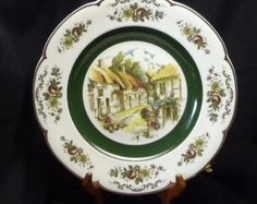 """Vintage Ascot 10.5"""" Service Plate (Charger) by Wood and Sons,English Thatched Cottage Vi/llage Scene,Vintage Houseware, #VB7036 by ckdesignsforyou. Explore more products on http://ckdesignsforyou.etsy.com"""