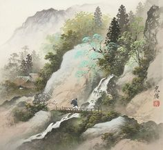 восток Japanese Painting, Chinese Painting, Japanese Art, Watercolor Landscape, Landscape Paintings, Watercolor Paintings, Art World, Asian Art, Natural