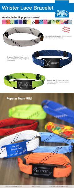 Hockey Lace Bracelets from ChalkTalkSports.com. Custom engraved hockey bracelets. #hockey #gifts