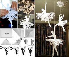 Pretty Paper Snowflake Ballerinas .  Check tutorial & video--> http://wonderfuldiy.com/wonderful-diy-paper-snowflake-ballerinas/