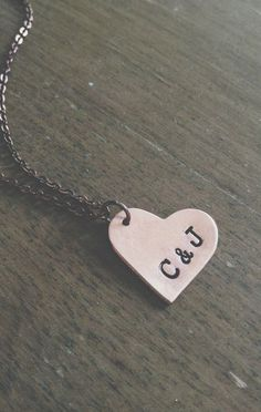 custom hand stamped initial necklace