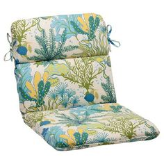 Outdoor Rounded Chair Cushion - Green/Blue Ocean Scene : Target