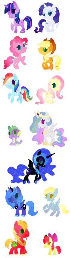 Twilight sparkle, Rarity, Pinkie pie, Applejack, Rainbow dash, Fluttershy, Spike, princess celesta, Nightmare moon, Luna, Derpy, Macintosh, and Apple Bloom.