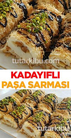 Kadayıflı Paşa Sarması - Dock Tutorial and Ideas Yummy Recipes, Wrap Recipes, Lunch Recipes, Pasta Recipes, Sweet Recipes, Dessert Recipes, Plats Ramadan, Turkish Recipes, Ethnic Recipes