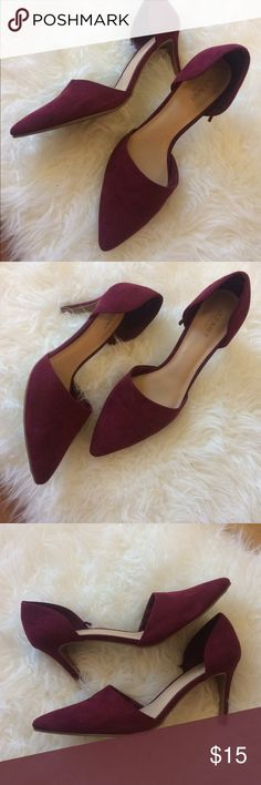 Old Navy Maroon Heels Maroon faux suede heels, size 10, worn only few times! Still has life and very comfortable!!! Old Navy Shoes Heels