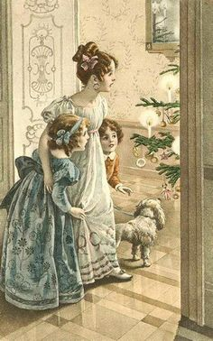 Vintage Christmas Fabric Block Vintage Postcard Victorian Parlor | eBay  Victorian children christmas illustration