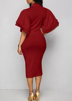 Wine Red Tie Neck Layered Sleeve Dress on sale only US$34.90 now, buy cheap Wine Red Tie Neck Layered Sleeve Dress at liligal.com