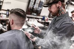 Frank Rimer - London Barber on Behance Barber Shop Pictures, Short Hair Cuts, Short Hair Styles, Barber Tattoo, Barbershop Design, Great Beards, Hair And Beard Styles, Great Hair, Facial Hair