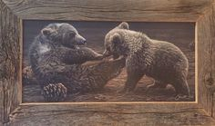 Brawlin' Brvins painting by Daniel Smith. Framed by Rory's Rustic Furniture. Featured at Homestead89 Furniture Art and Design Gallery.