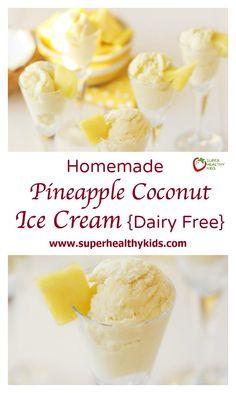 Pineapple Coconut Ice Cream Dairy Free. The Best & Healthiest Dairy Free Ice Cream! www.superhealthykids.com/homemade-pineapple-coconut-ice-cream-dairy-free