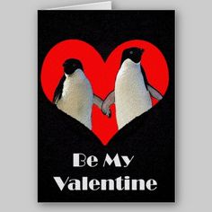 Pair of Penguins Valentine's Day Card available at www.zazzle.com/stevebrownleeart