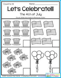 Kindergarten counting worksheets for the summer month of July. They're sure to be a big hit with your kids. Includes Fourth of July pages, too, like this one! Counting Worksheets For Kindergarten, Summer Worksheets, Graphing Worksheets, Alphabet Tracing Worksheets, Kindergarten Age, Upper And Lowercase Letters, Lower Case Letters, Writing Lines, Learn To Count