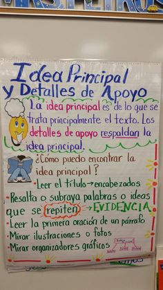 Anchor chart for teaching main idea in Spanish Classroom Charts, Bilingual Classroom, Bilingual Education, Spanish Classroom, Classroom Ideas, Teaching Main Idea, Teaching Reading, Reading Lessons, Kindergarten Reading