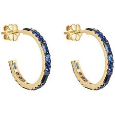 Pamela Love Fine Jewelry Women's Sapphire Hoops (195,390 INR) ❤ liked on Polyvore featuring jewelry, earrings, gold, pamela love earrings, round earrings, earring jewelry, sapphire earrings and baguette earrings