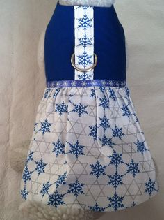 Blue & White Hanukkah Chanukkah with STAR of DAVID Holiday Harness Dress for your Cat, Dog or Ferret. Custom made dress for your pet.
