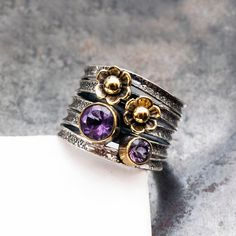 Sterling Silver Wrap Band Ring with Purple Amethyst Gemstones and Golden Flowers February Birthstone Ring Boho Chic Flower Purple Ring Greek Jewelry, Glass Jewelry, Jewellery, Amethyst Gemstone, Purple Amethyst, Purple Rings, Promise Rings For Her, Diamond Pendant Necklace, Boho Rings