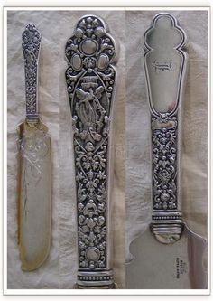 "Gorham ""Old Medici"" pattern ice cream knife, c1880 (notarnish)"