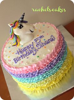 Rainbow Unicorn Ruffle Cake