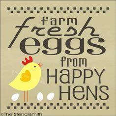 1735 - Farm Fresh Eggs-Farm Fresh Eggs from happy hens stencil chickens chicks country