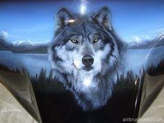 Haut Détail AIRBRUSH STENCIL Howling Wolf GRATUIT UK ENVOI