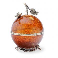 """Amber Box """"A Paradise Apple"""" -- carved amber with metal trim"""