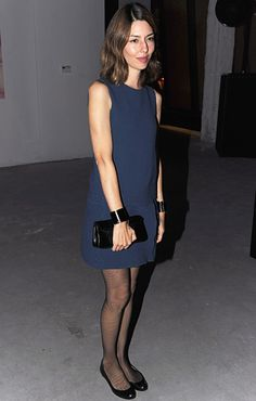 sofia coppola at MJS/S2012...love the hard and soft...leather cuffs esp with the simple shift.