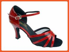 6a177f2ad9c Very Fine Womens Salsa Ballroom Tango Latin Dance Shoes Style 6027 Bundle  with Plastic Dance Shoe Heel Protectors Red Patent Leather 85 M US Heel 3  Inch     ...