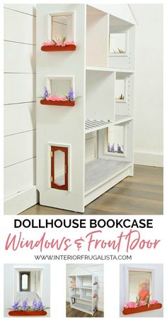 Dollhouse Bookcase – DIY Windows and Front Door Turn a small IKEA Billy Bookcase into a charming dollhouse with plexiglass windows with flowered filled window boxes and a repurposed jewelry chest front door. Billy Ikea, Ikea Billy Bookcase, Dollhouse Bookcase, Dollhouse Furniture, Dollhouse Windows, Girls Dollhouse, Diy Dollhouse, Haunted Dollhouse, Doll House Plans