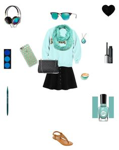 """Mint blue beauty"" by amycat24 ❤ liked on Polyvore featuring мода, Casetify, A.N.A, Ray-Ban, PurMinerals, ModestlyChic Apparel, Abercrombie & Fitch, Sally Hansen и Clinique"