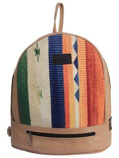 Multi Color Tan Cotton Kilim Faux Leather Back Pack Bag