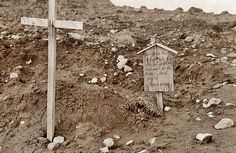 """""""This grave marker was discovered by US troops on Kiska Island (Aleutians) in a small graveyard in August 1943. The marker was made and placed by Japanese soldiers, after they had buried an American pilot who had crashed on the island. The marker reads: """"Sleeping here, a brave air-hero who lost youth and happiness for his Mother land. July 25 - Nippon Army"""". A small gesture of humanity amid the Apocalypse."""""""