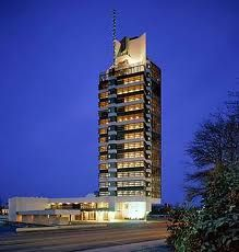 "Price Tower in Bartlesville, OK by Frank Lloyd Wright. It is called ""the Skyscaper of the Prairie."""