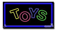 "Toys Neon Sign - 20"" x 37""-ANS1500-1378-R  37"" Wide x 20"" Tall x 3"" Deep  Flashing Border ""ON/OFF"" switch  Sign is mounted on an unbreakable black or clear Lexan backing  Top and bottom protective sides  110 volt U.L. listed transformer fits into a standard outlet  Hanging hardware & chain included  6' Power cord with standard transformer  For indoor use only  1 Year Warranty on electrical components"