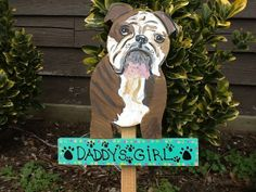 Bulldog sign garden stake lawn ornament from by LazyHoundWorkshop, $23.00