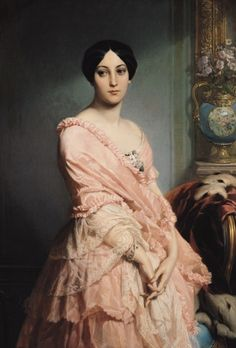 ▴ Artistic Accessories ▴ clothes, jewelry, hats in art - Edouard Dubufe | Portrait of Madame F., 1850-51