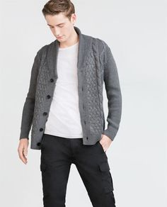 Large.  Navy Blue.  Or Grey.  CABLE KNIT CARDIGAN from Zara