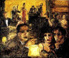 """Club nocturno"", óleo sobre lienzo de 30x25"
