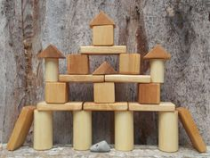 Handmade wooden blocks eco friendly toys children by DINDINTOYS, $29.00