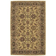 """This is the same rug/size, I bought @ a yard sale for $40 a wks ago!  A fantasia of mesmerizing Persian motifs is displayed with timeless beauty on this sophisticated area rug. The warm golden background makes its colors glow like rubies and emeralds.   Product Features:     Hand tufted from 100% wool with a 3/4""""H pile Mold-, mildew- and fade-resistant for long-lasting good looks To clean, apply Woolite"""