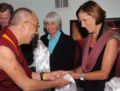 Sue Lloyd-Roberts, pictured with Dalai Lama, a long-time trustee of Tibet Relief Fund. RIP