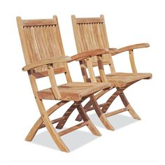Teak Folding Armchairs Pair with Cushions | Rockport Collection by Tho
