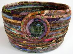 Scrappy Coiled Rope Basket / Bowl / Planter Under by SallyManke, $38.00