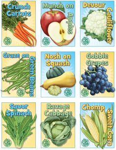18 Fruit & Veggie Trading Cards. Two sets of 9, available for free download from the NY State Dept. of Agriculture & Markets. Facts about each veggie on the back of the card. Simply too cool for words! Find these at agriculture.ny.gov/f2s/documents/TC_1.pdf and agriculture.ny.gov/f2s/documents/TC_2.pdf. Also available in Spanish from the agriculture.ny.gov website. Ny Gov, Vbs 2016, Vbs Crafts, Vacation Bible School, Agriculture, Abundance, Trading Cards, Cabbage, Spanish