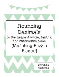 Check out this freebie! Rounding Decimals to the nearest whole, tenths, and hundredths matching activity! Can be used in small group, with a partner, or at a station! Teaching 5th Grade, 5th Grade Teachers, Fourth Grade Math, Teaching Math, Teaching Tips, Math Worksheets, Math Resources, Math Activities, Math Games