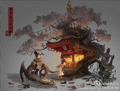 Chung Hua insect pictures - Micro album Environment Concept Art, Environment Design, Fantasy Landscape, Fantasy Art, Bonsai, Anime City, Canson, Matte Painting, Environmental Art