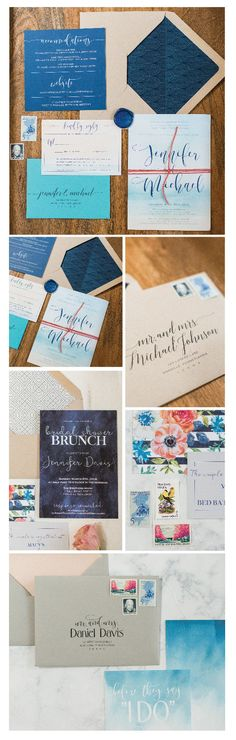 Elegant beach wedding invitations | blue and coral wedding | seaside wedding invitations | custom wedding invitations | beach bridal shower invitation | bridal brunch | nautical wedding | watercolor wedding invitation